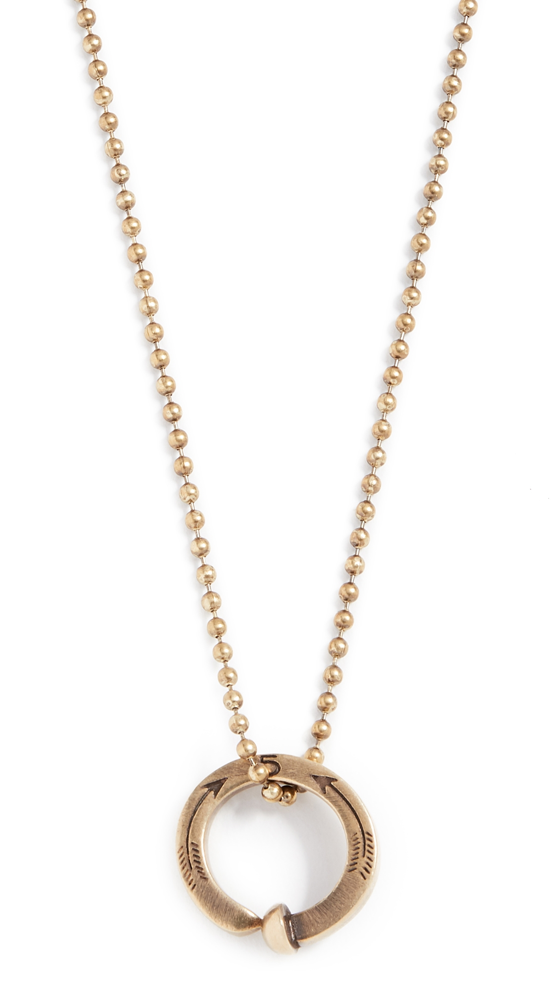 GILES & BROTHER Railroad Spike Ring Ball Chain Necklace in Antique Brass