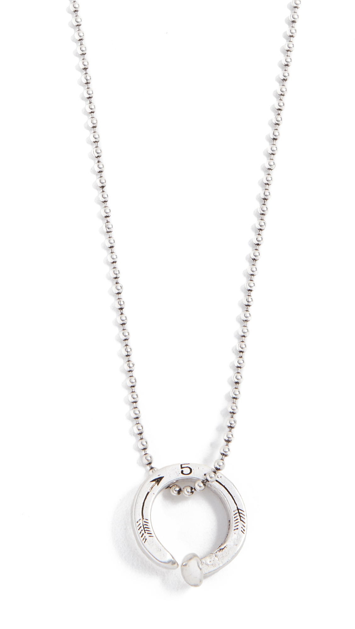 GILES & BROTHER Railroad Spike Ring Ball Chain Necklace in Silver Oxide