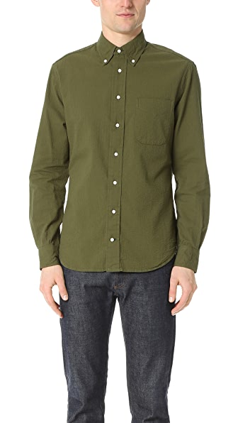 Gitman Vintage Long Sleeve Olive Over Dye Seersucker Shirt