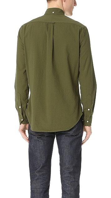 Gitman Vintage Long Sleeve Olive Over Dye Seersucker Shirt