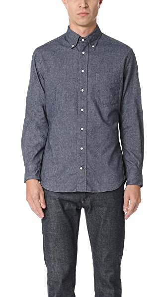 Gitman Vintage Navy Blue Long Sleeve Flannel Chambray Shirt