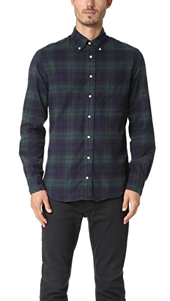 Gitman Vintage Long Sleeve Blackwatch Plaid Flannel Shirt