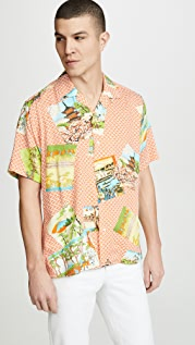 Gitman Vintage BD Mountain Print Shirt - Camp Collar