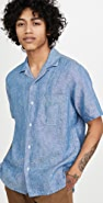 Gitman Vintage Chambray Linen Camp Collar Short Sleeve Shirt