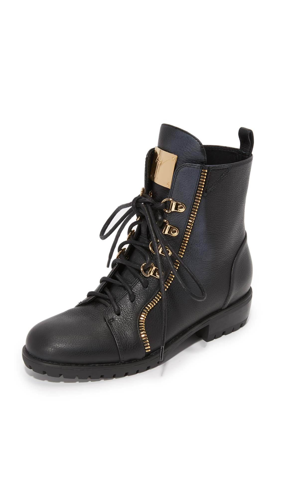 Giuseppe Zanotti Leather Combat Boots - Black at Shopbop