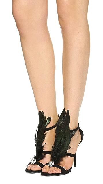 Giuseppe Zanotti Mistico Feathered Sandals