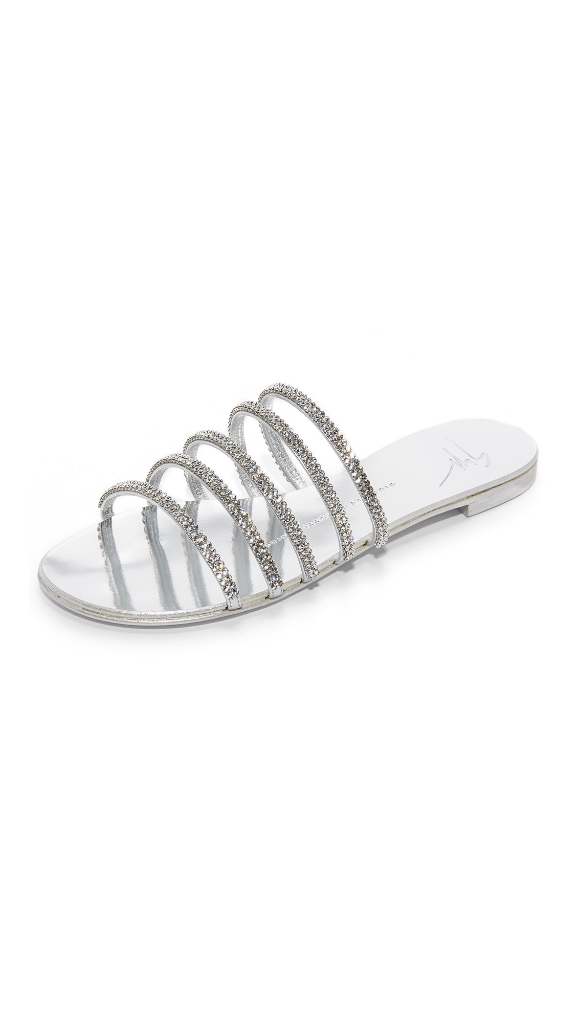 Giuseppe Zanotti Strappy Flat Sandals - Argento