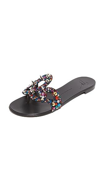 Giuseppe Zanotti Flat Jeweled Sandals - Nero
