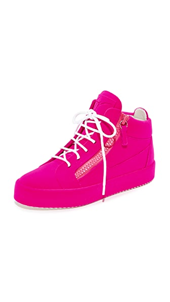 Giuseppe Zanotti High Top Zip Sneakers - Rosa
