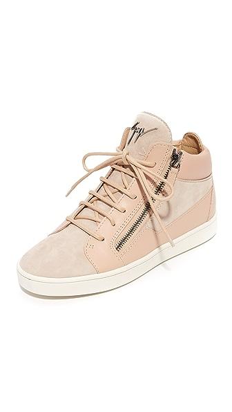 Giuseppe Zanotti High Top Zip Sneakers - Blush