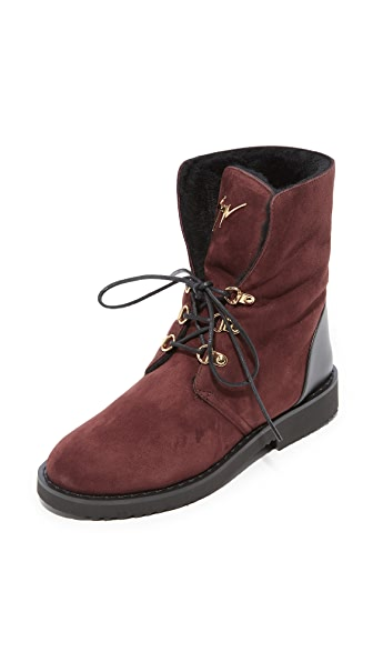 Giuseppe Zanotti Lace Up Shearling Booties - Brown