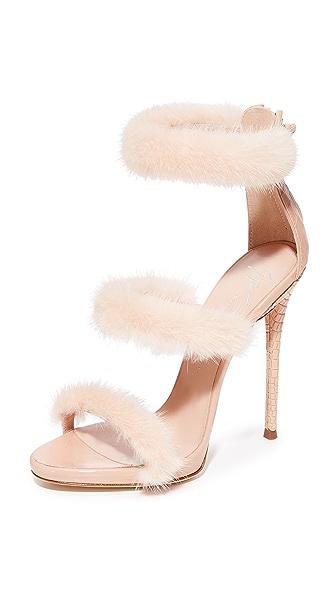 Giuseppe Zanotti Coline Sandal Heel with Fur - Nude
