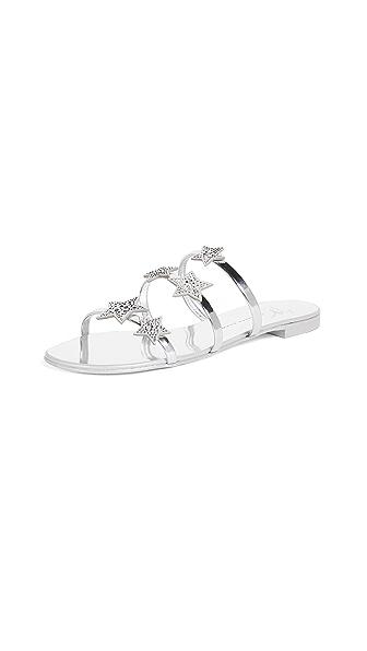 Giuseppe Zanotti Flat Star Sandals In Argento