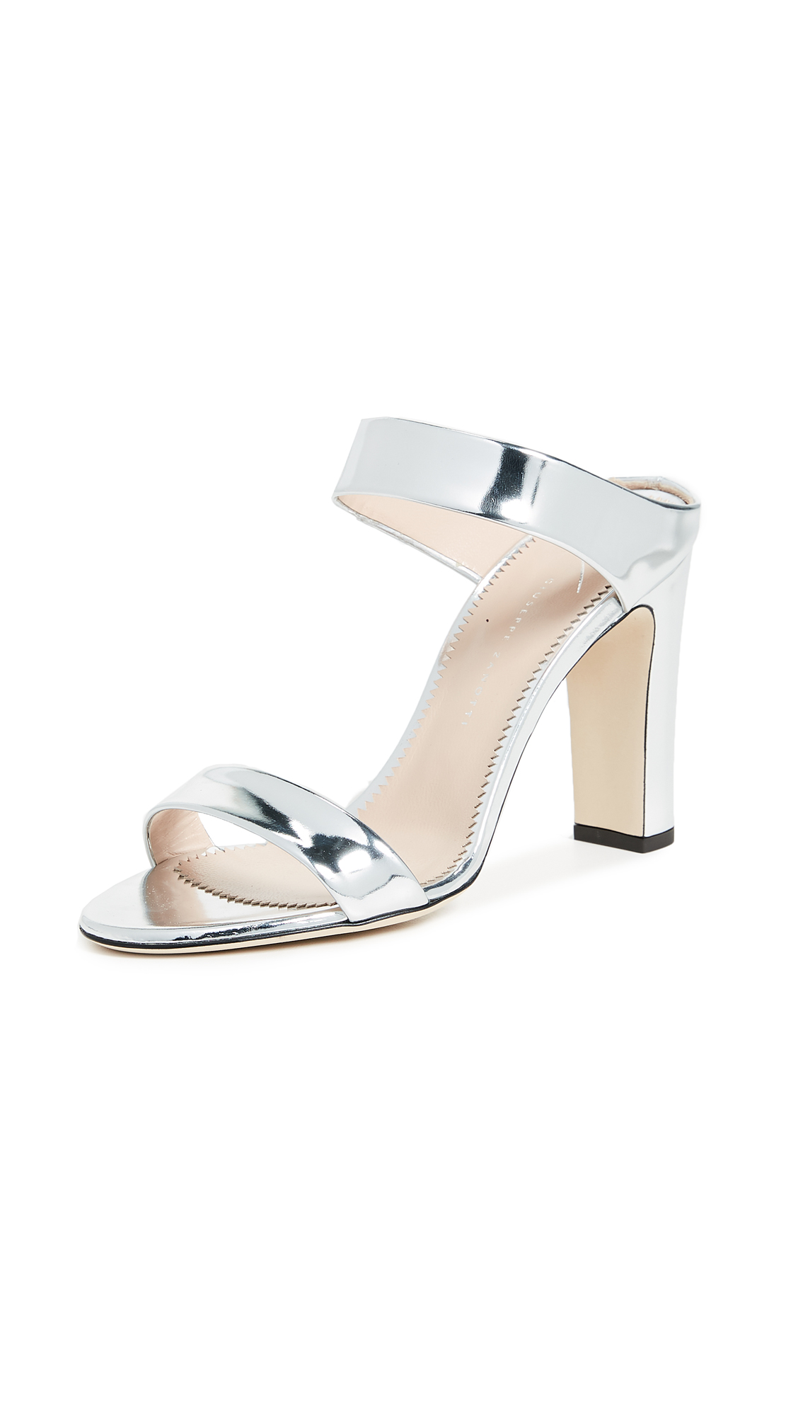 Giuseppe Zanotti Metallic Mule Sandals - Silver