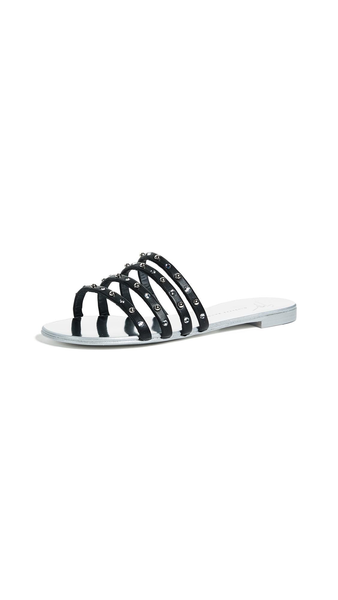 Giuseppe Zanotti Strappy Stud Sandals - Black/Silver