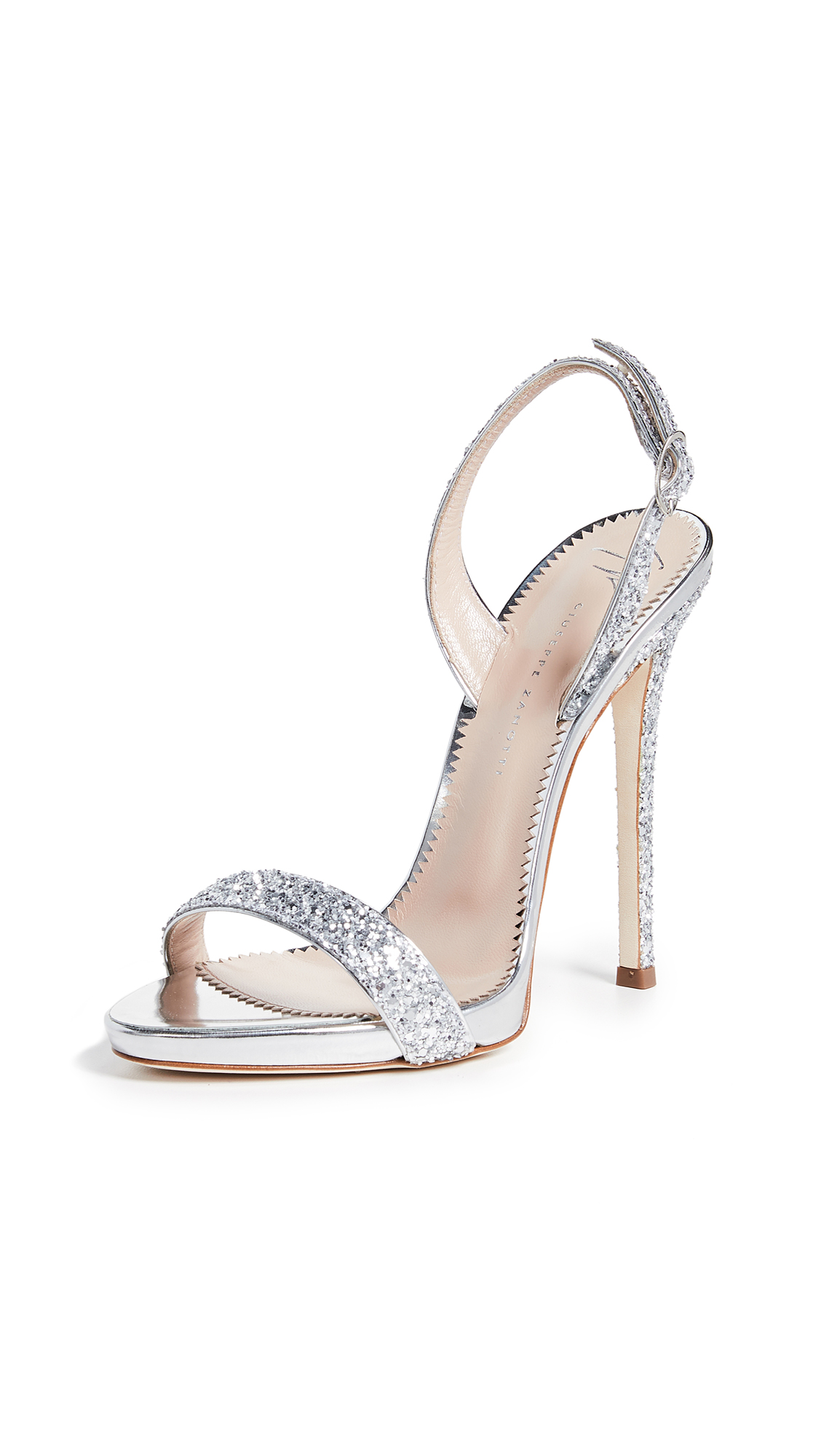 Coline Glittered Metallic Leather Slingback Sandals