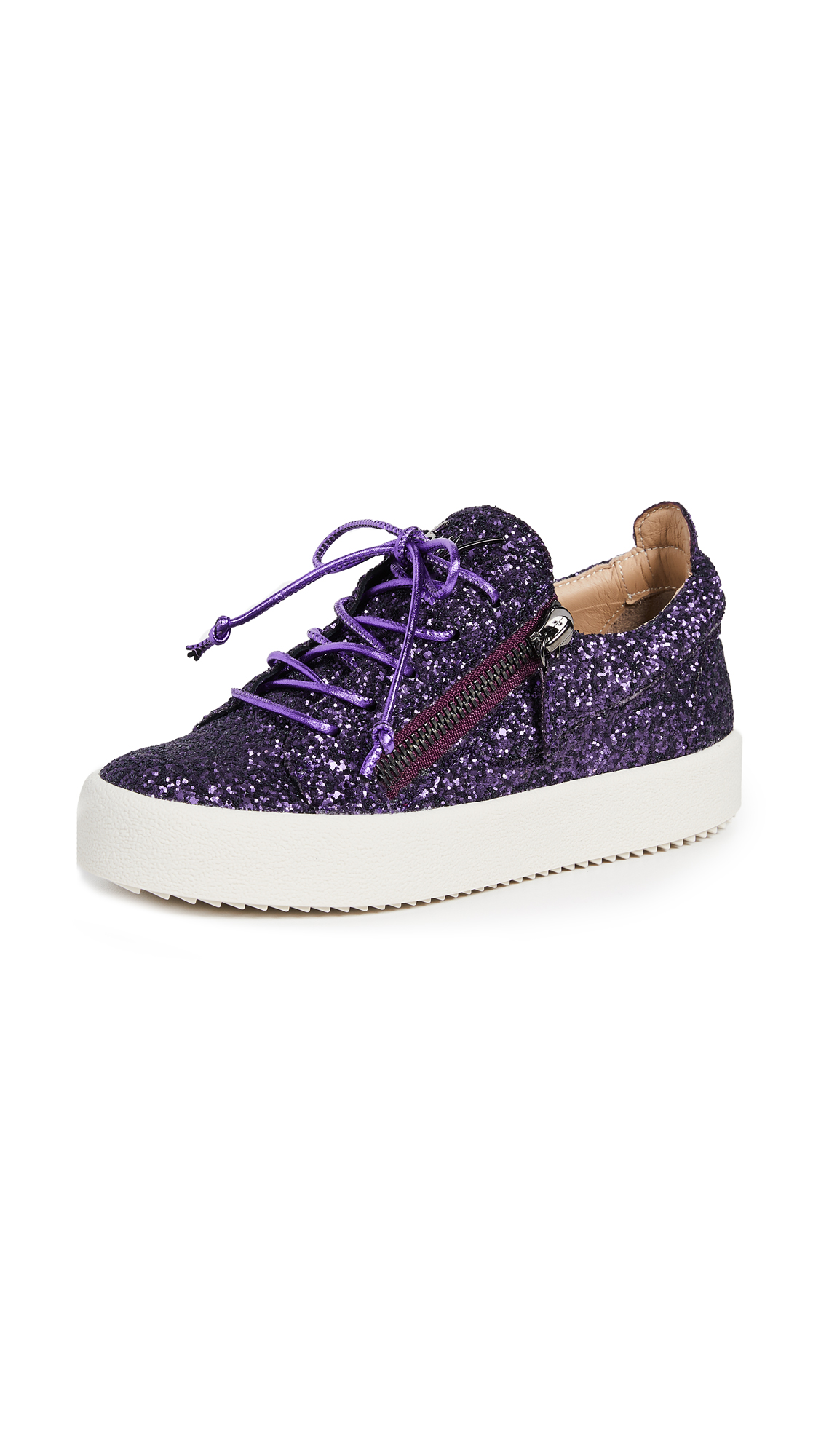 Giuseppe Zanotti Side Zip Glitter Sneakers - Purple
