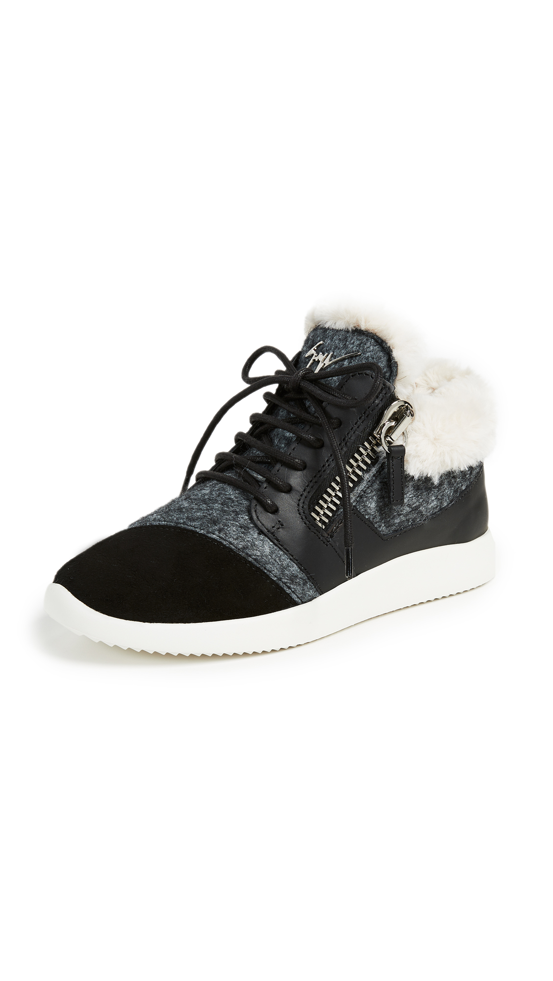 Giuseppe Zanotti Faux Fur Lined Sneakers - Nero