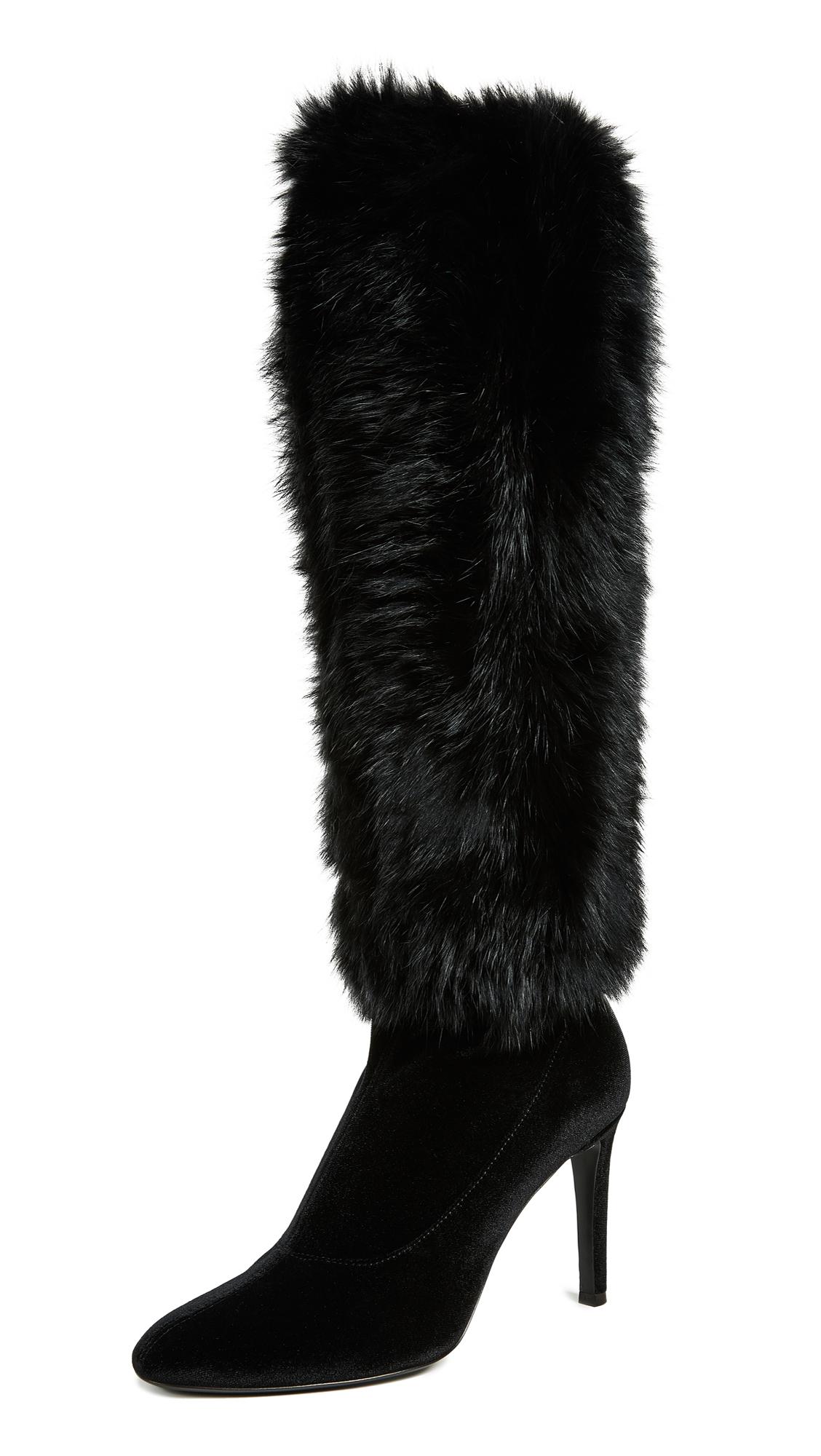 Women'S Rabbit Fur & Velvet Pointed Toe Boots, Nero