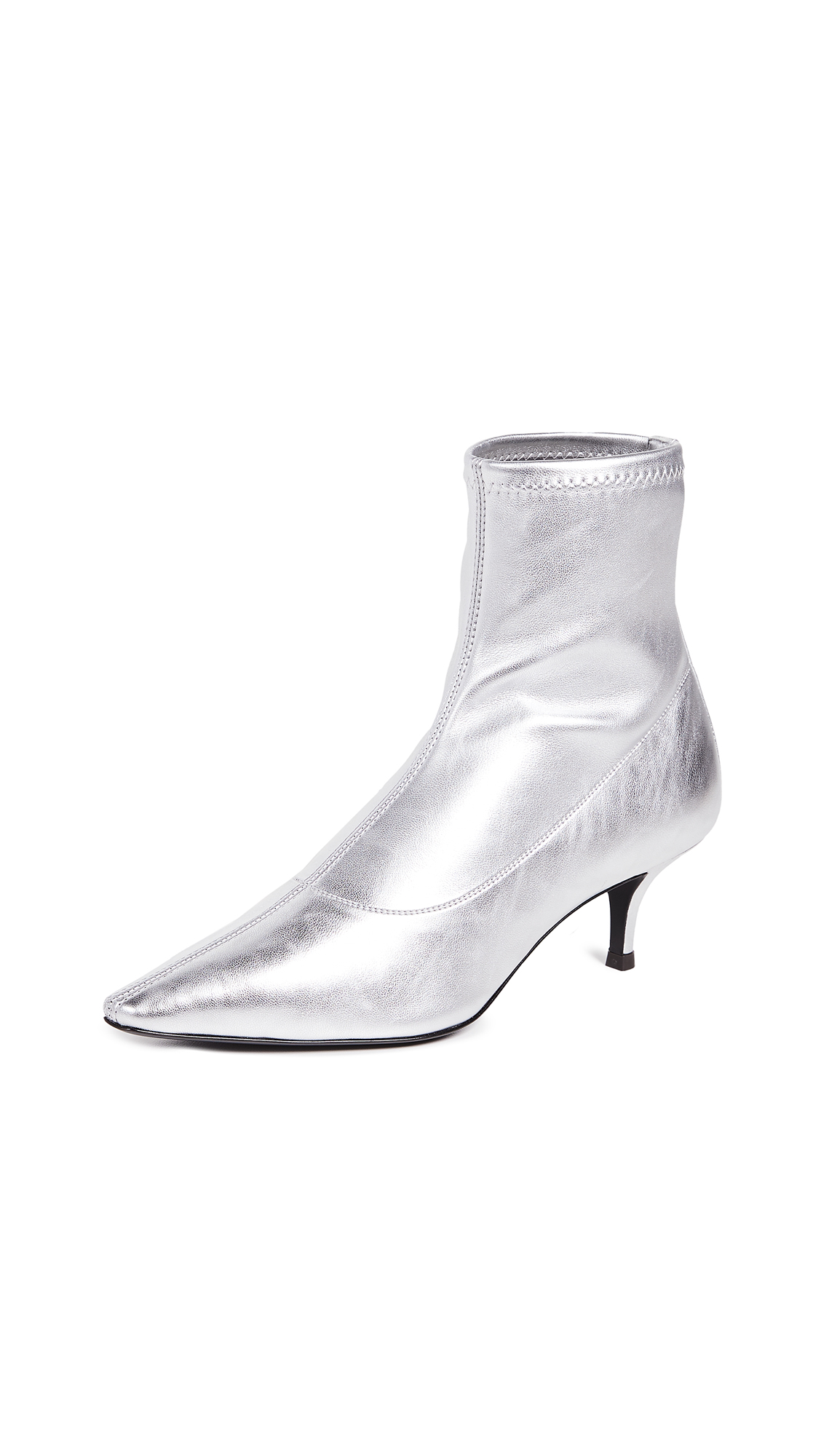 Giuseppe Zanotti Point Toe Metallic Booties - Silver