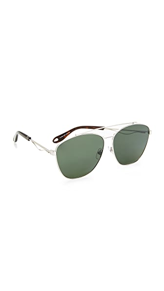 Givenchy Square Aviator Sunglasses - Palladium/Green