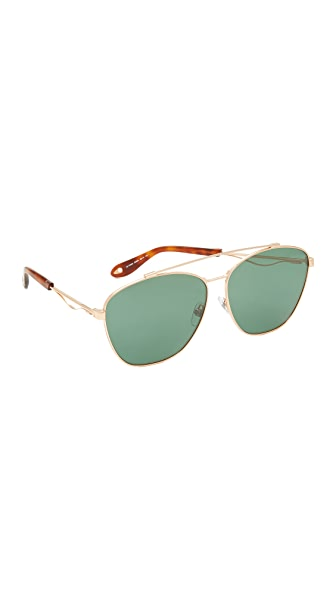 Givenchy Square Aviator Sunglasses - Gold Copper/Green