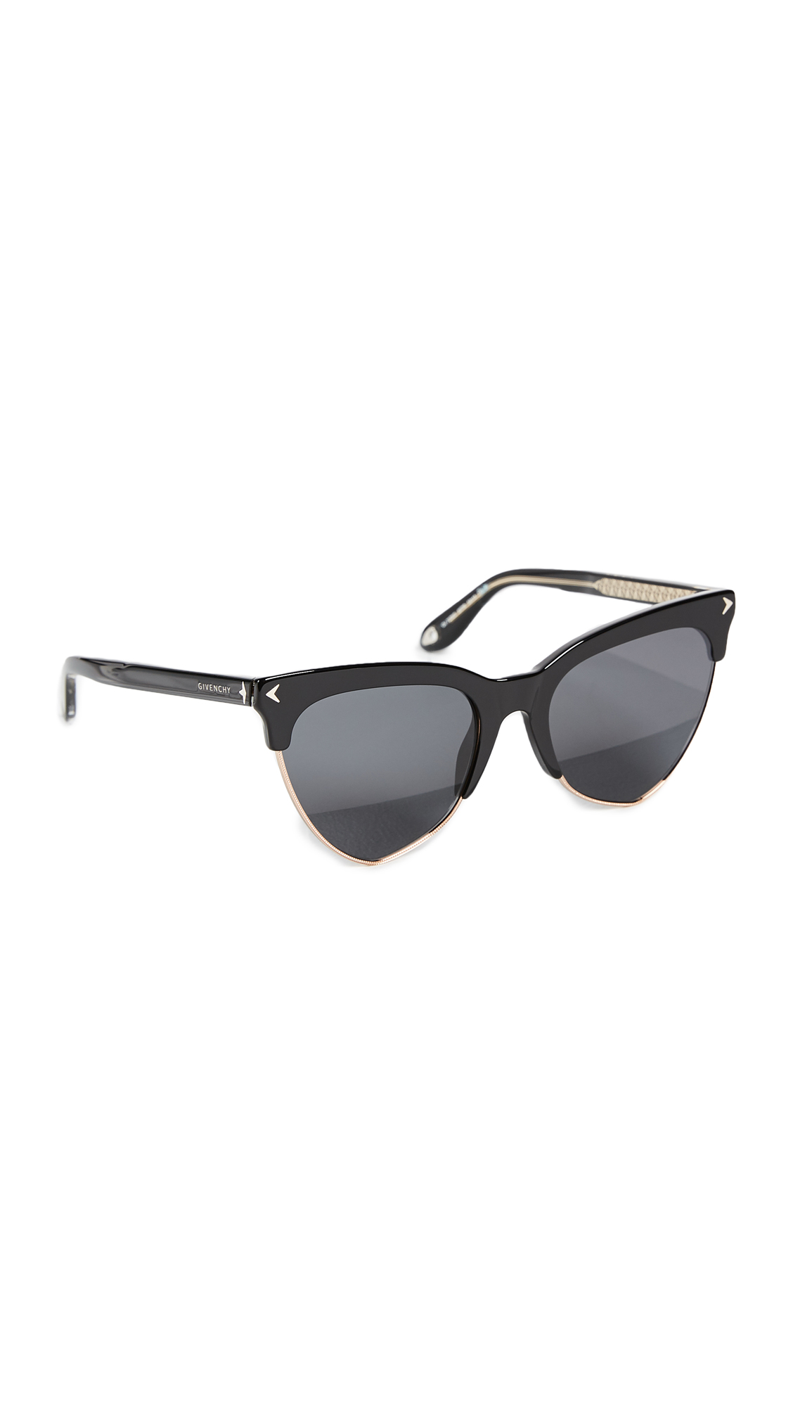 Givenchy Teardrop Sunglasses - Black Gold/Grey Blue