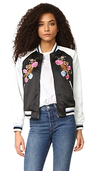 Glamorous Floral Embroidered Bomber Jacket