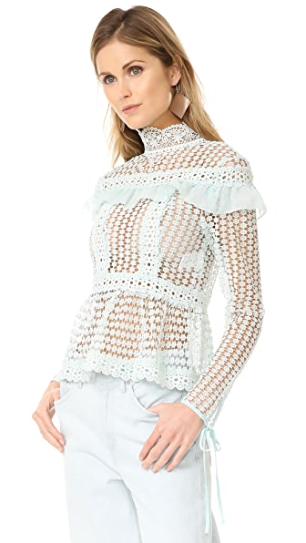 Glamorous Lace Blouse - Dusty Mint
