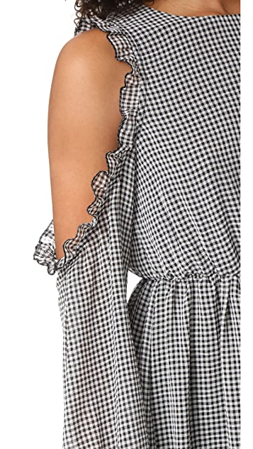 Glamorous Gingham Cold Shoulder Dress