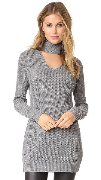 Glamorous Choker Sweater In Grey Marl