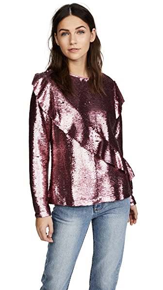 Glamorous Sequin Blouse In Pink Sequin