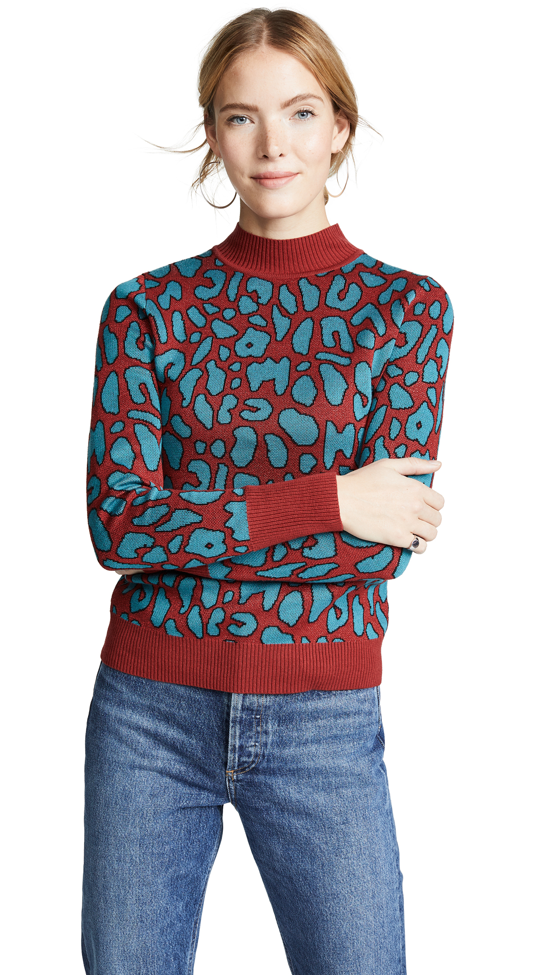 GLAMOROUS Leopard Sweater in Red/Blue Leopard