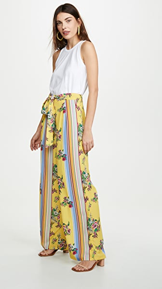 Glamorous Yellow Floral Stripe Trousers