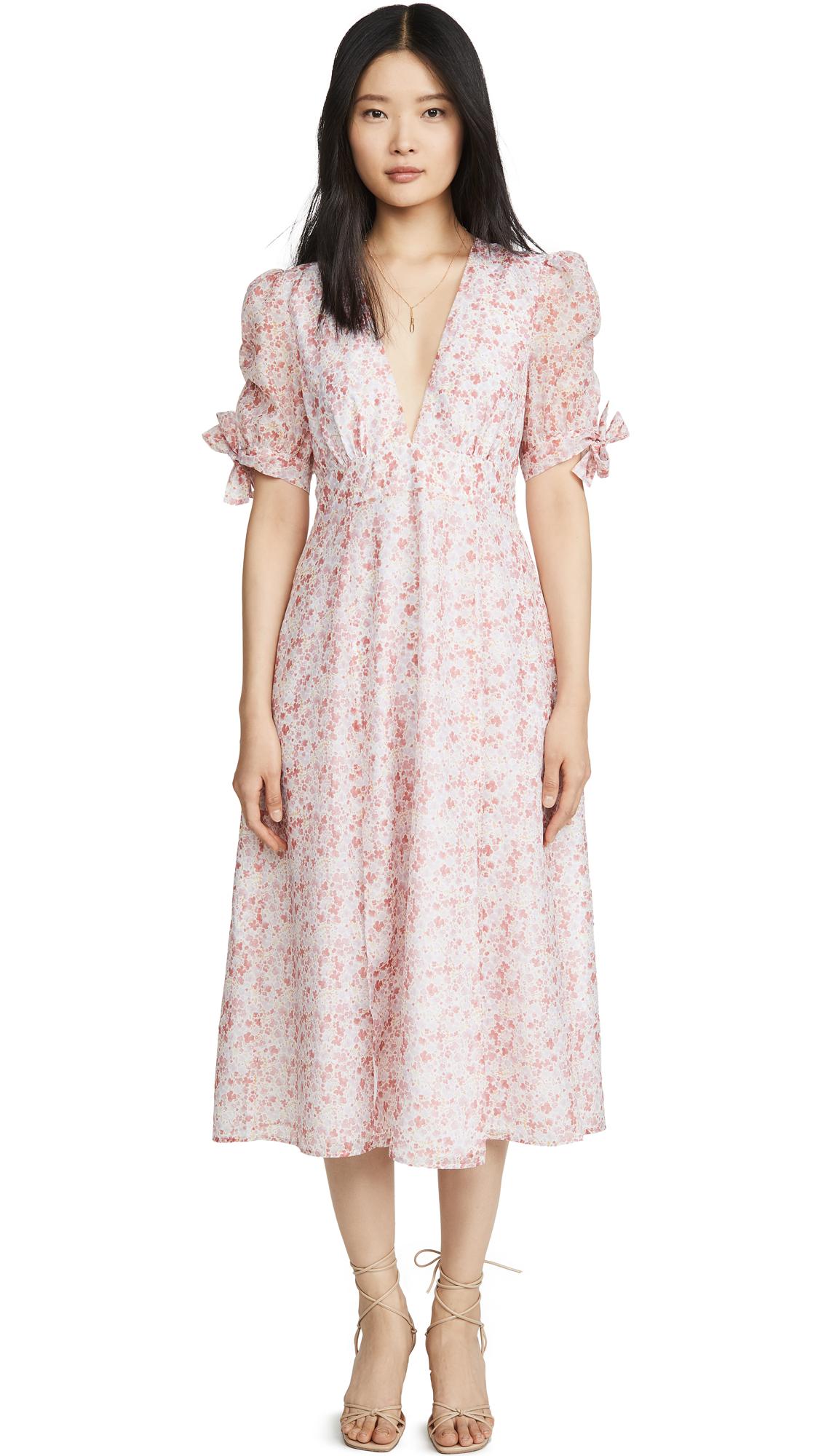 Glamorous Pink Ditsy Organza Midi Dress - 30% Off Sale