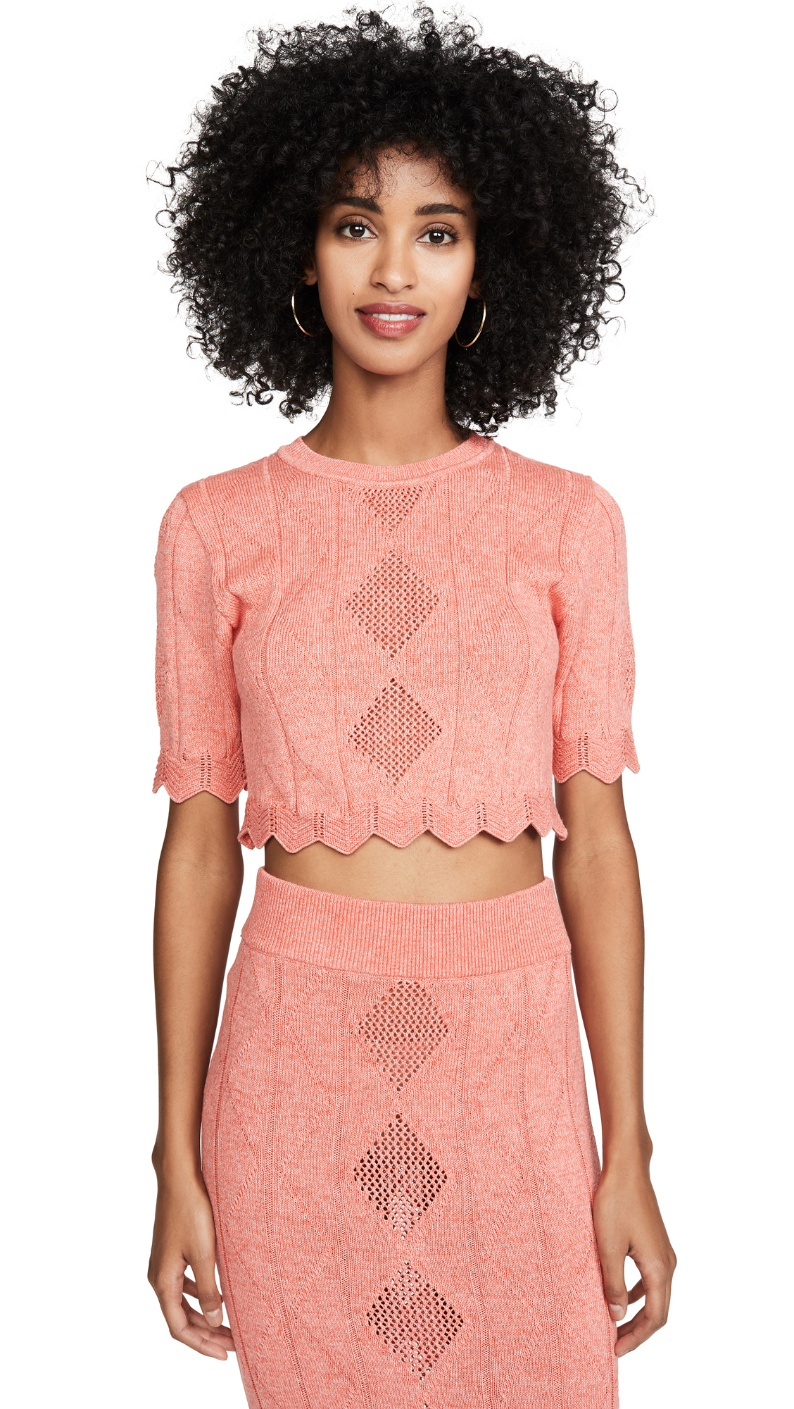 Buy Victor Glemaud online - photo of Victor Glemaud Pointelle Short Sleeve Top