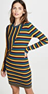 Victor Glemaud Long Sleeve Striped Mini Dress