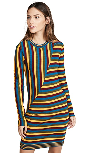 Photo of  Victor Glemaud Long Sleeve Striped Mini Dress - shop Victor Glemaud dresses online sales