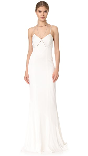 Galvan London Diamond Cutout Dress In White