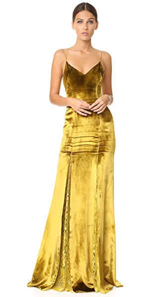Galvan London Velvet & Lace Gown at Shopbop