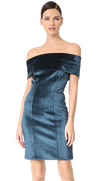 Galvan London Off Shoulder Velvet Cocktail Dress