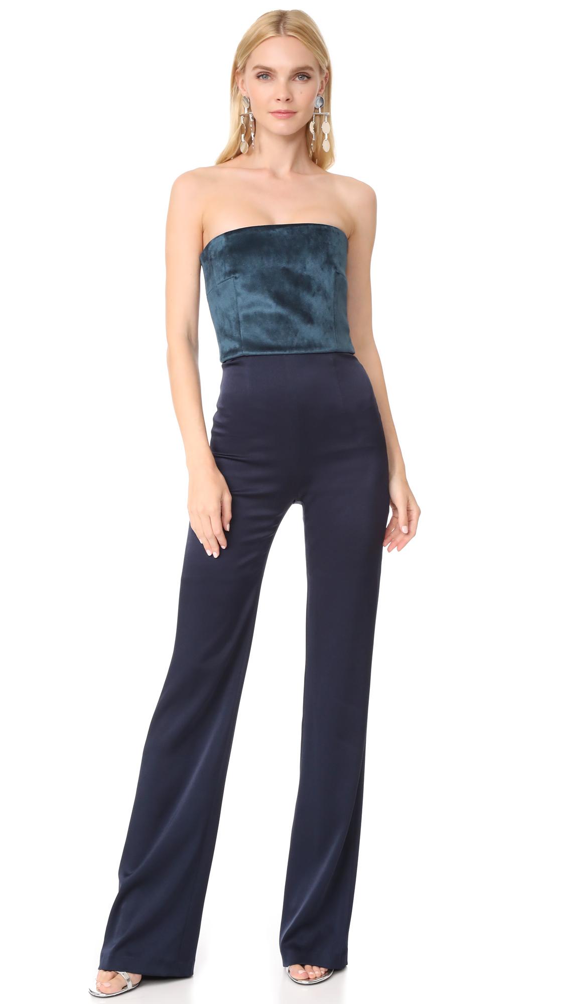 Galvan London Strapless Velvet Jumpsuit - Petrol/Midnight