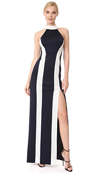 Galvan London Striped Column Dress - White/Midnight