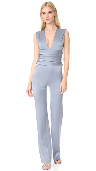 Galvan London Satin Wrap Jumpsuit
