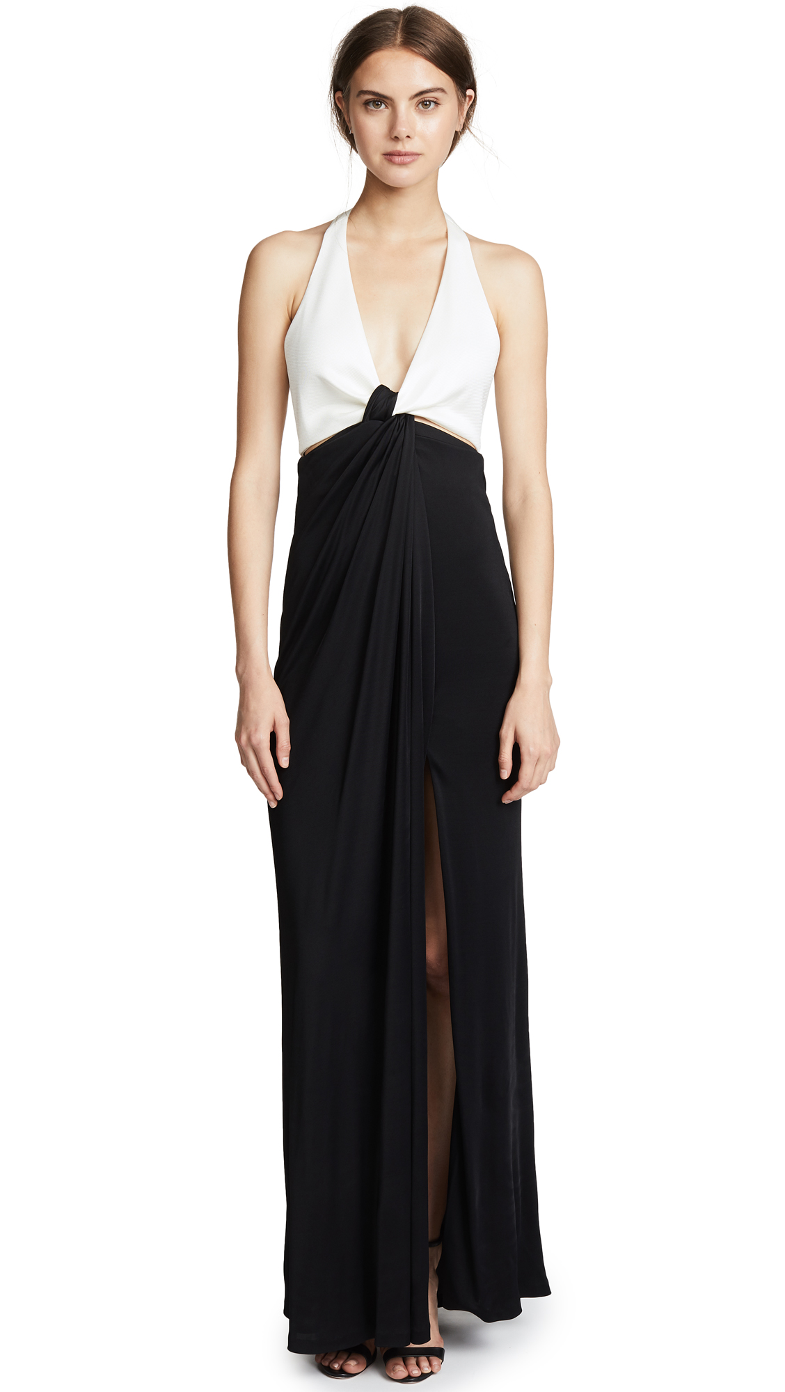 Galvan London Eclipse Gown In White/Black