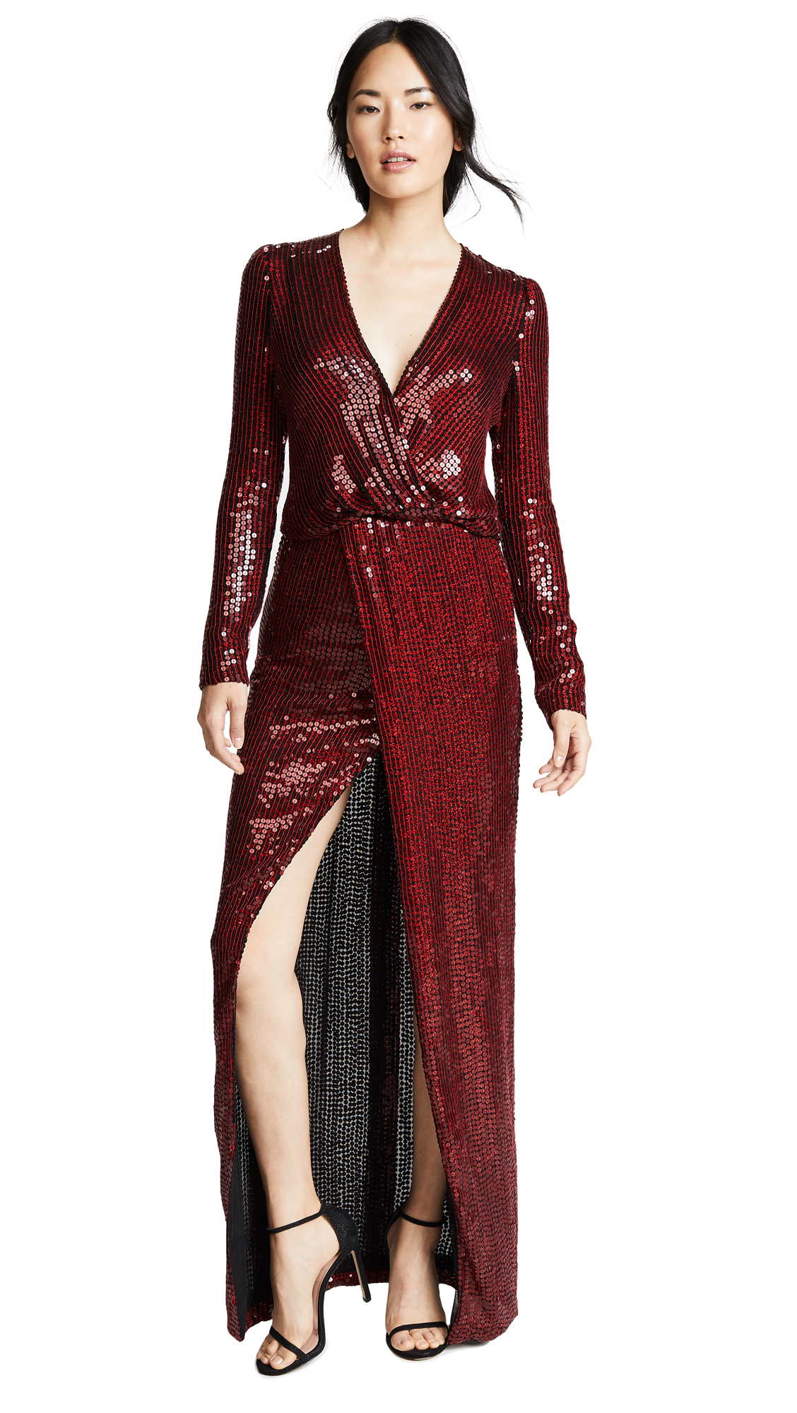 Vera Sequin And Silk Maxi Dress in Red