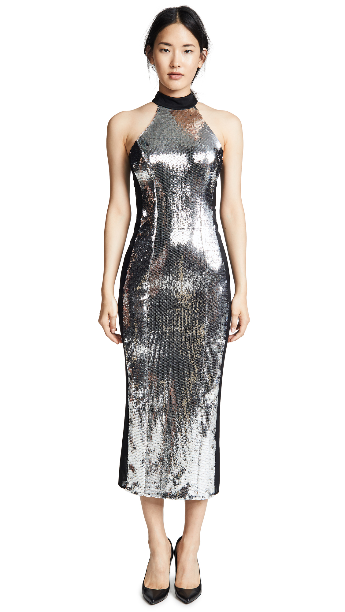 CHROME PANEL SEQUINNED DRESS