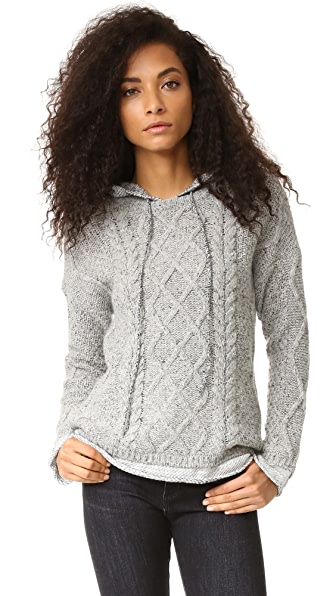 Generation Love Phoebe Cable Knit Hoodie - Heather Grey