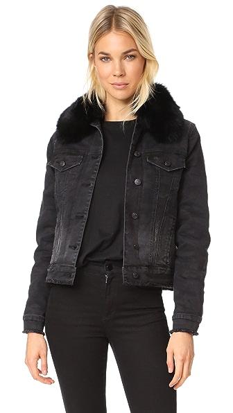 Generation Love Muriel Denim Jacket with Optional Fur Lining - Charcoal Camo
