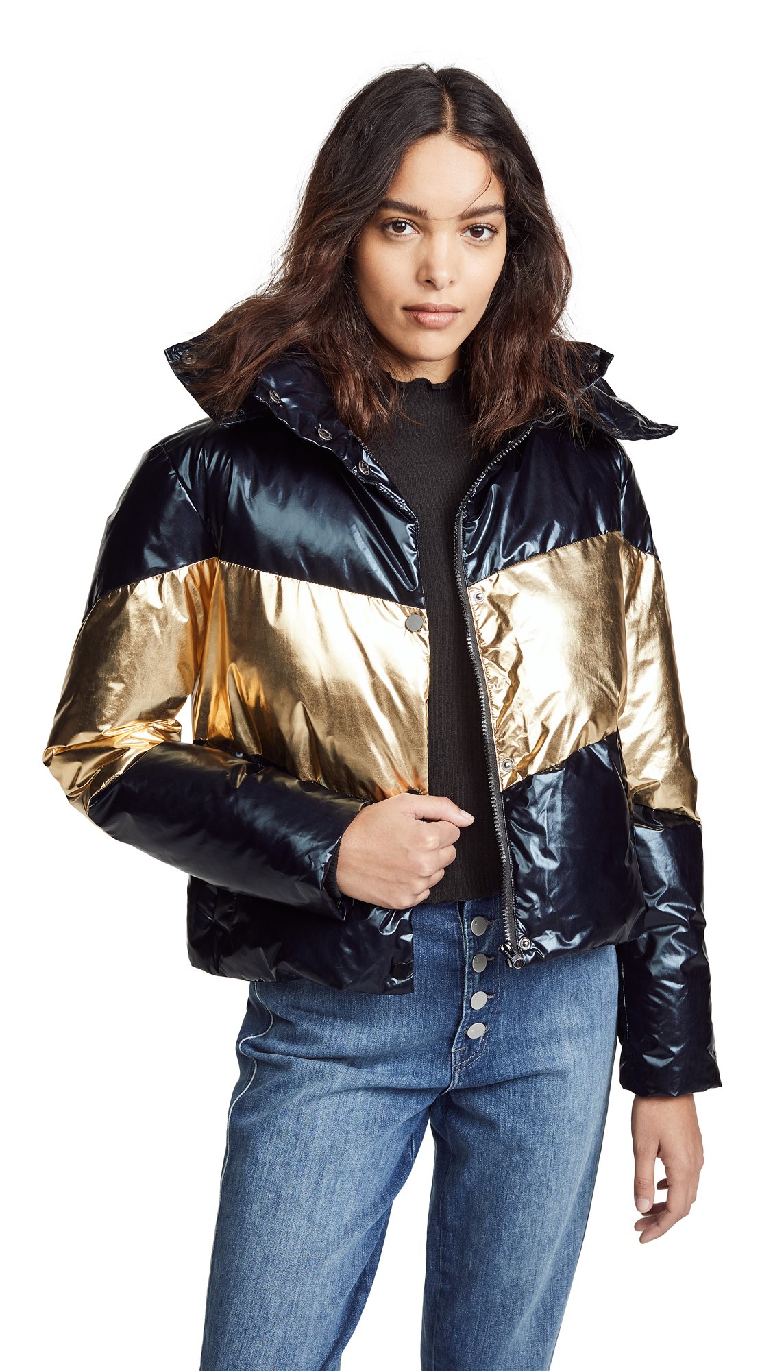 GENERATION LOVE Clarke Puffer Jacket in Black/Gold